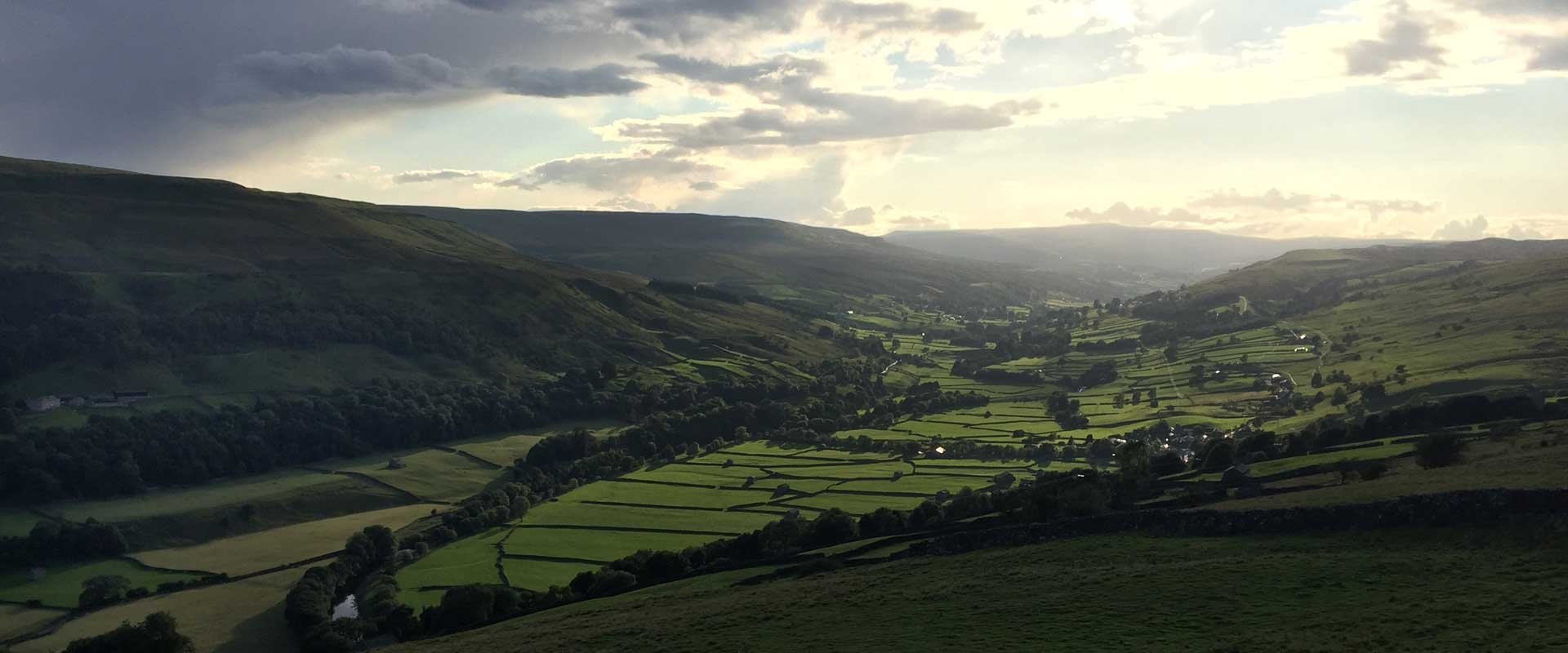 Late afternoon: looking up Swaledale